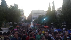 "Crowds pack Syntagma during a rally in support of ""no"" on July 3, 2015"