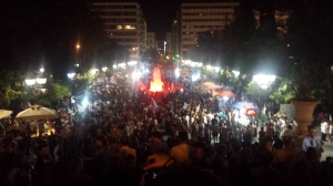No supporters celebrate at Syntagma following the  results of the referendum